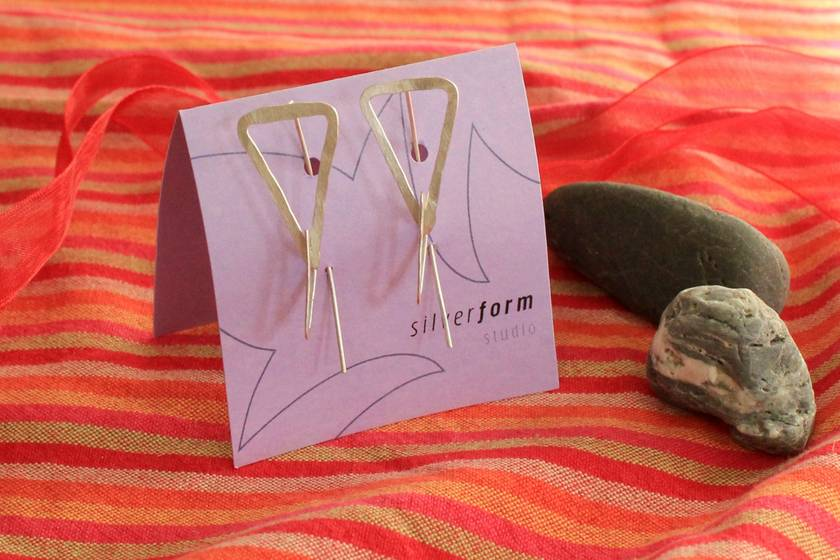 Sterling silver long triangle link earrings with long tail backs
