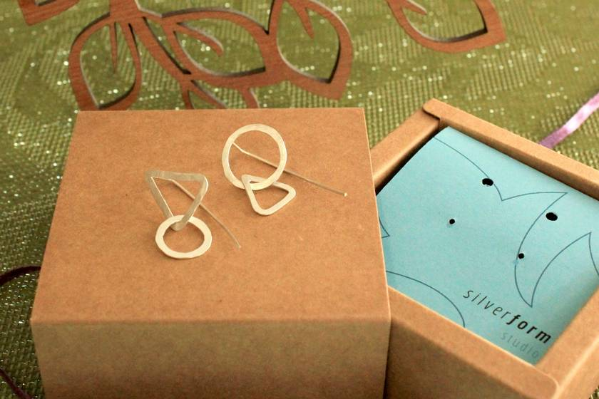 Sterling silver mismatch triangle + circle link earrings with medium tail backs
