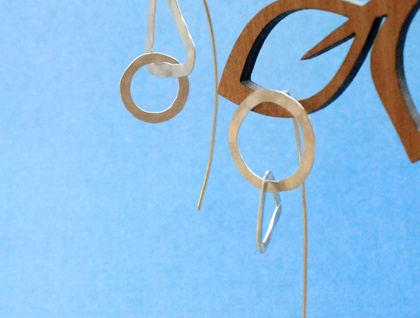 Sterling silver mismatch triangle + circle link earrings with long tail backs
