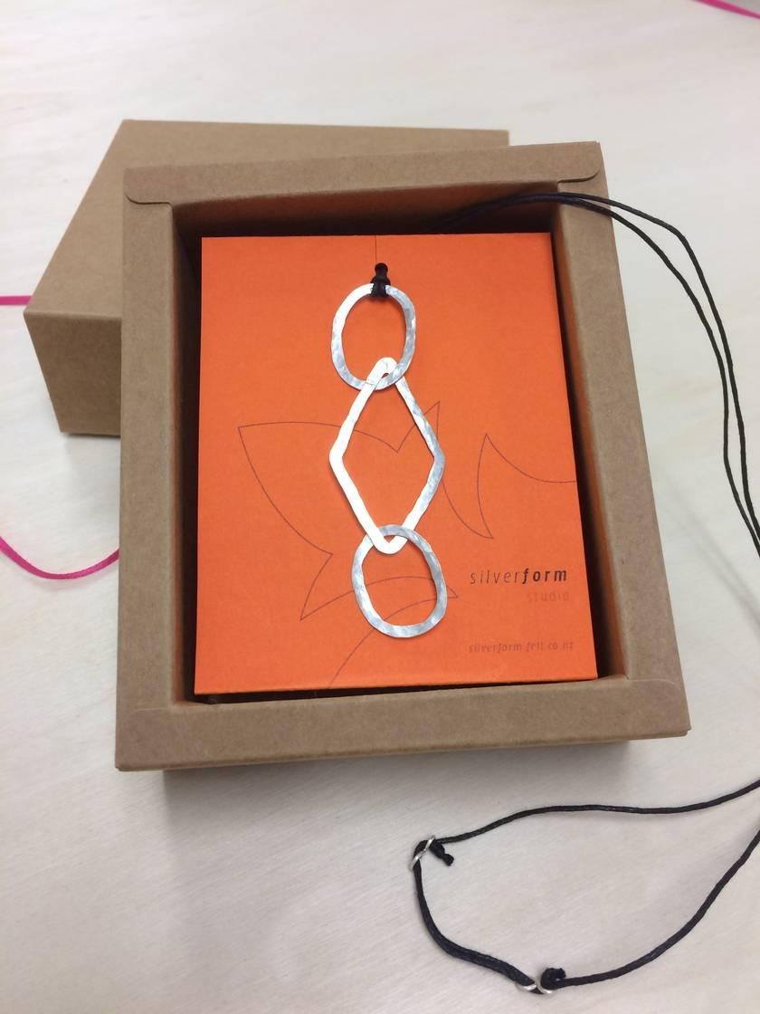 Ovals + diamond link pendant necklace