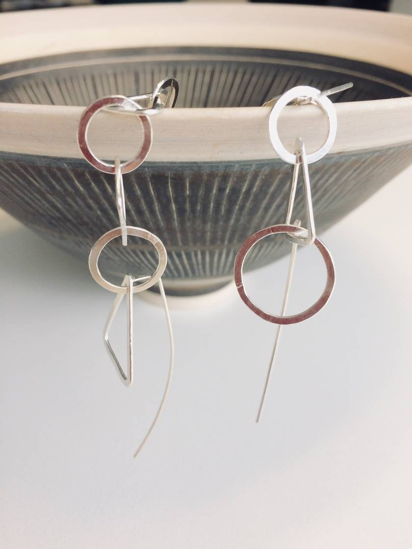 Custom length sterling silver extra long triangle + circle mismatch link earrings with choice of clasp/hook