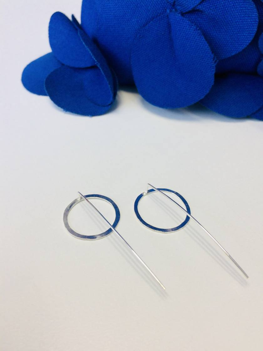 Sterling silver single circle earrings with long tail backs