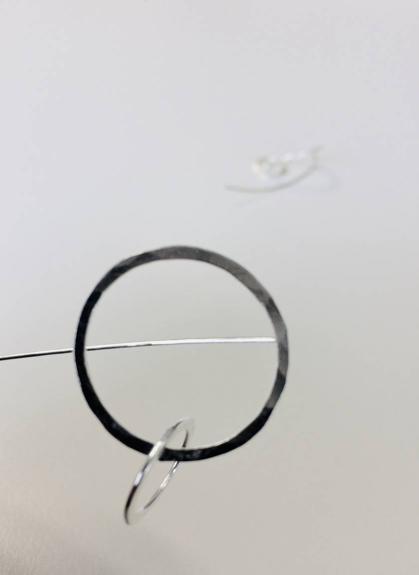 Sterling silver double circle link earrings with long tail backs