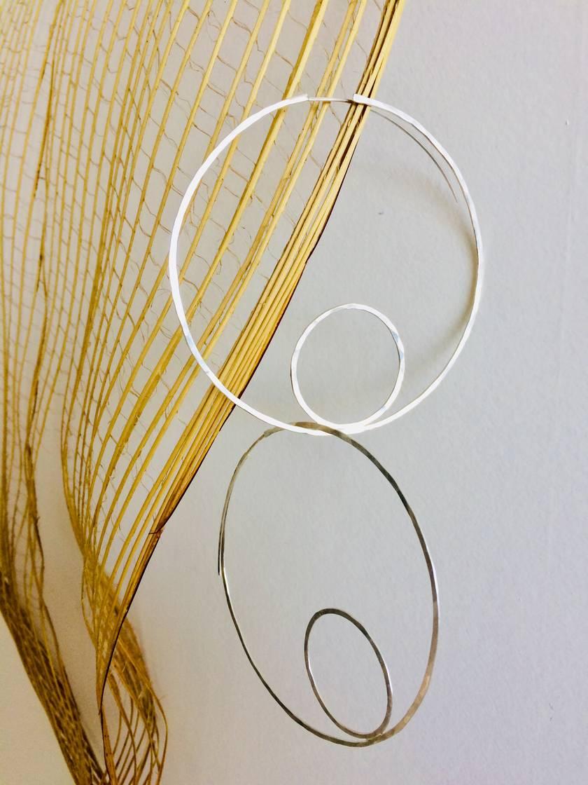 Sterling silver XL double circle hoop earrings