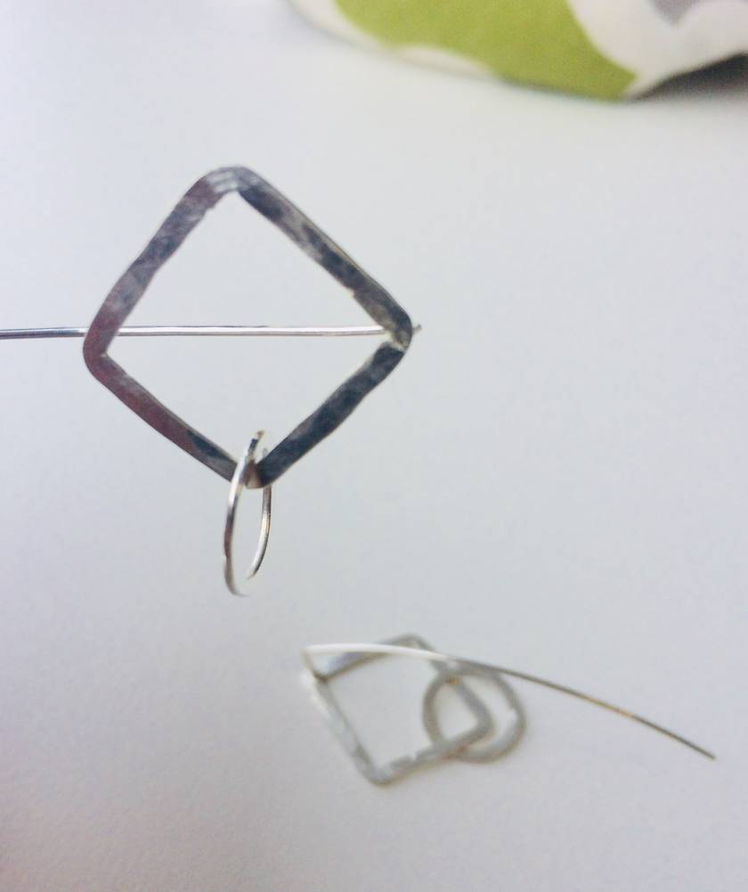 Square + circle link earrings with long tail backs