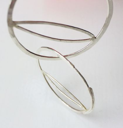 Small circle & almond hoop earrings with inline post