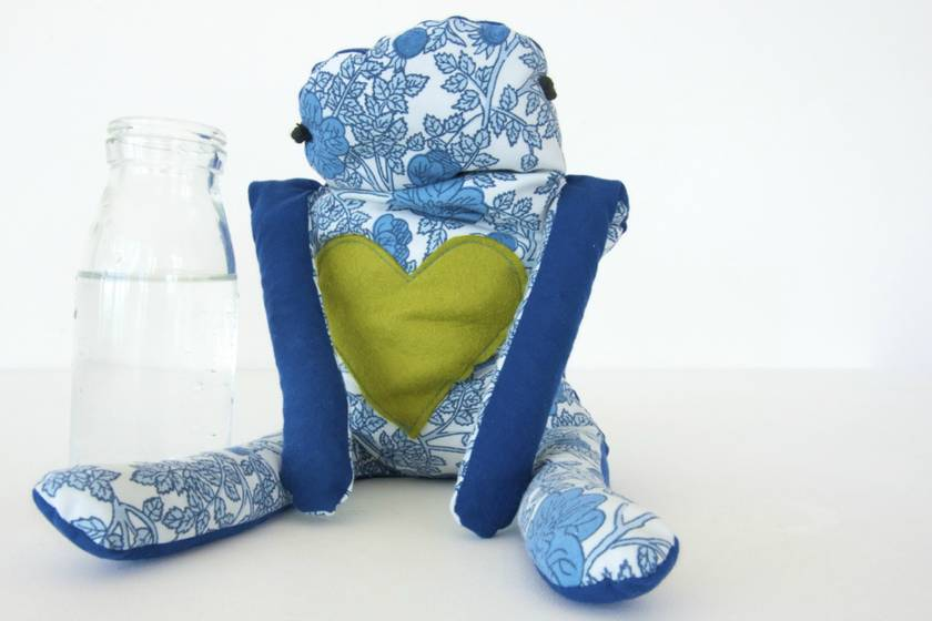 Wheat bag: blue and blue floral with a green heart