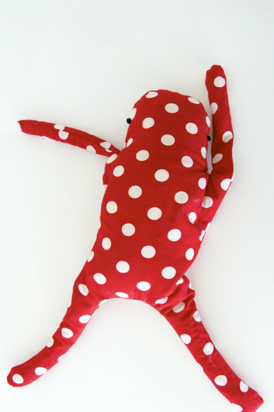 Wheat bag red and white polka dot with green heart felt for Polka dot felt fabric