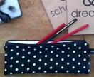 Pencil case - black polka dot