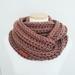 Chunky wool cowl scarf - Mocha