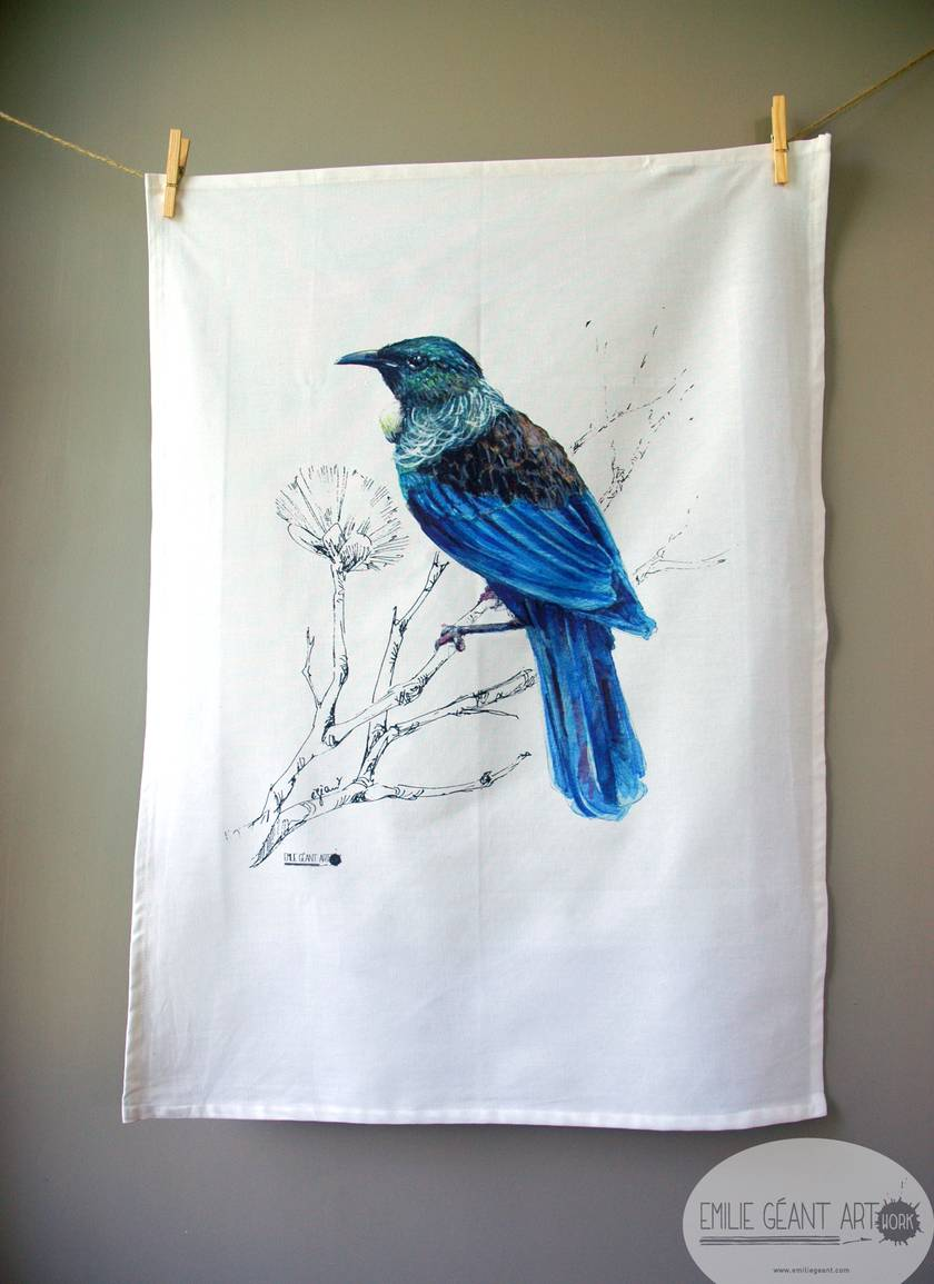 New Zealand illustration Tea Towel, 100% cotton, Fantail or Tui  from original paintings by Emilie Geant