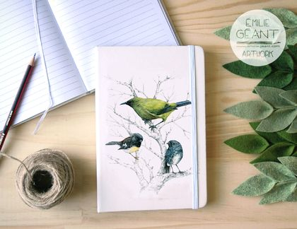 Notebook with New Zealand native birds painting cover