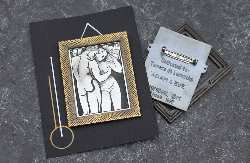 Wearable Art - Brooch - limited Edition . Adam & Eve / Art deco / Tamara De lempicka / 1932