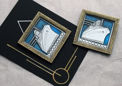 Wearable Art Deco - Stylised  Ship - Brooch - Titanic Style