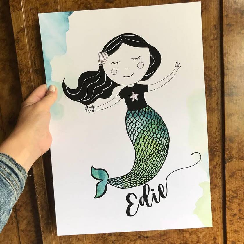 Mermaid Custom Name Poster