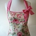 shabby chic apron - pastel floral full apron - vintage style full apron - pale pink apron - roses full apron bow apron