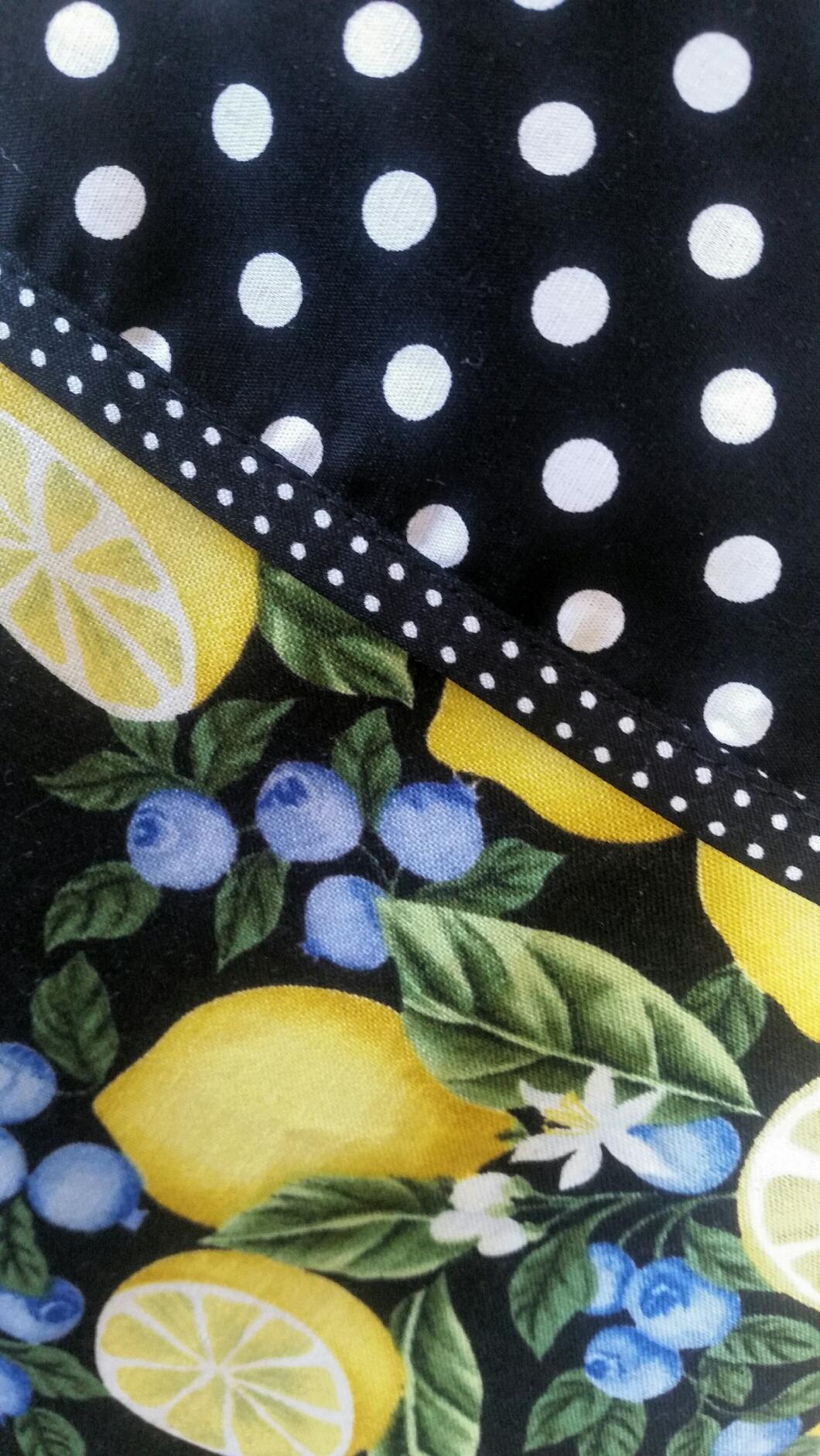 Buy white apron nz - Lemon And Blueberry Apron Black White Blue Yellow Apron Black White Spot Full Apron