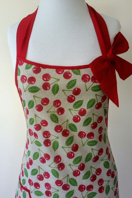 cherry full apron - vintage style full apron - red green apron - cherry full apron bow apron