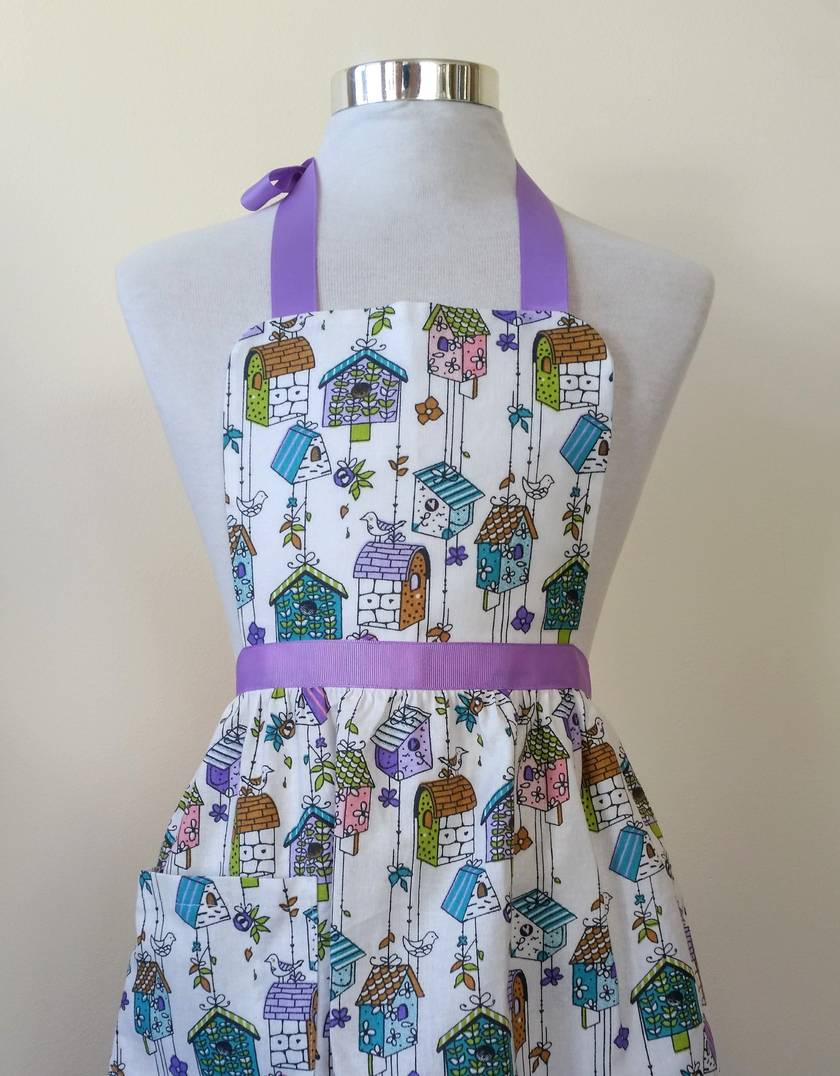 Children's apron - birdhouse apron - girls apron