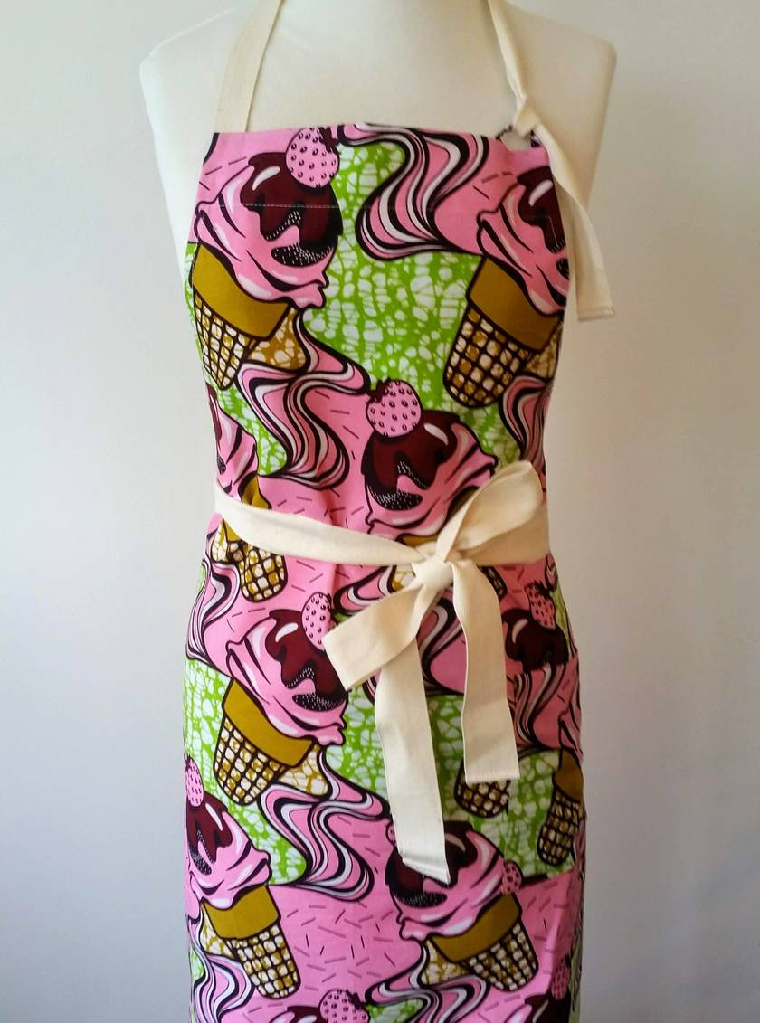 Ice Cream print full apron - African print apron cafe style - african wax print apron