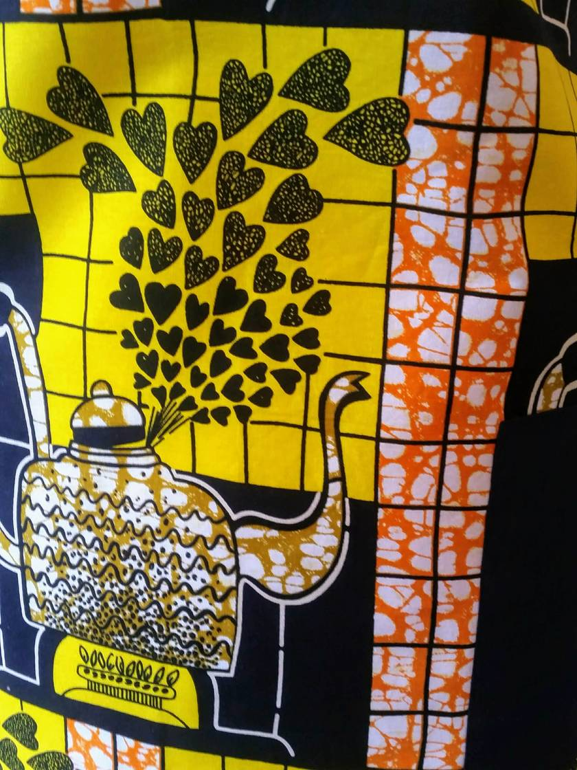 Kitchen kettle print full apron - African print apron cafe style