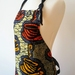 Coffee print full apron - African print apron cafe style - african wax print apron