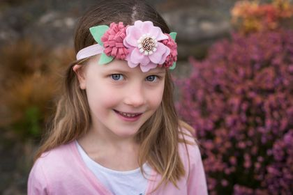 Hearthered raspberry and pink felt flower crown