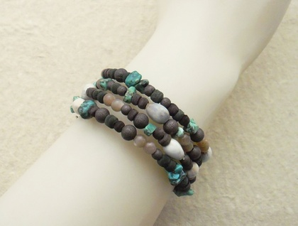 Leaf Litter bracelet: memory wire wrap bracelet with Job's Tears, turquoise, sunstone, and wood