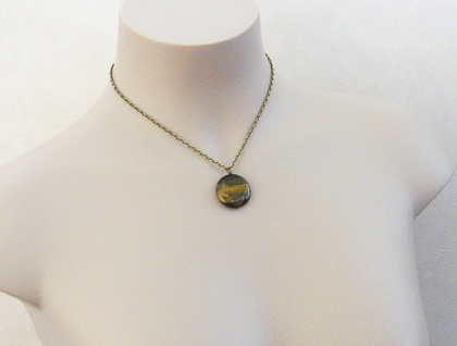 Tigris necklace: simple, semiprecious, round tiger-eye pendant on textured, antiqued-brass chain