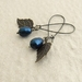Pearl Berry earrings in deep blue: Swarovski pearls with bronze-coloured leaves