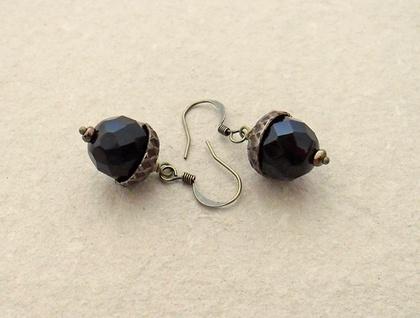 Persistent Acorn earrings in dark brown and antiqued brass on short ear-hooks