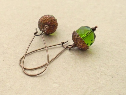 Persistent Acorn earrings in spring green and antiqued copper on long ear-wires