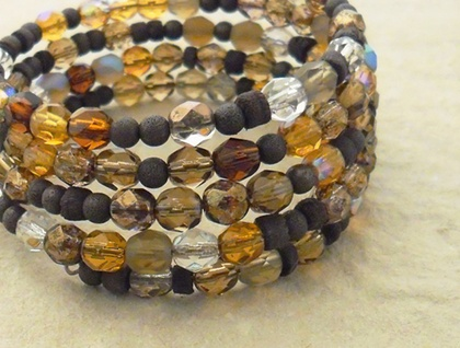 Tawny Woods: sparkly glass and wood memory-wire wrap bracelet in autumn browns and ambers