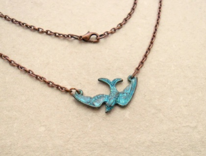 Turquoise Bird: verdigris patina pendant on antiqued-copper coloured chain – one of a kind