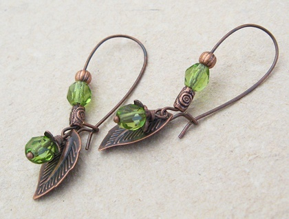 Green Forest: elfin green & antiqued copper earrings with Czech glass and leaf charms