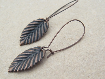 Copper Leaves: simple, long leaf earrings on long ear-wires
