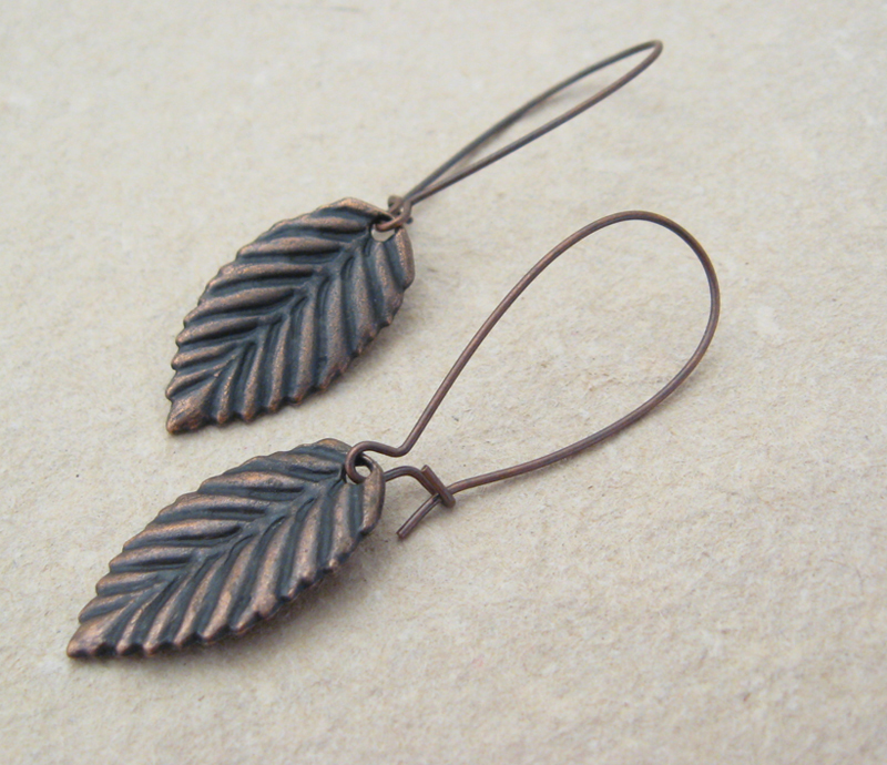 how to make copper leaf earrings