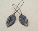 Copper Leaves: simple, birch leaf earrings on long ear-wires