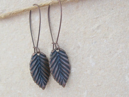 Copper Leaves: simple, long leaf earrings