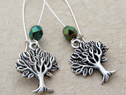 Mighty Tree earrings: silver trees with sparkly, dark green Czech glass on silver-plated ear-wires