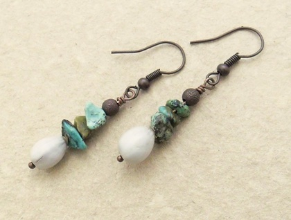 Leaf Litter earrings: Job's Tears and turquoise chips with antiqued-copper coloured hooks
