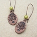 Copper Curly Tree earrings with peridot green miracle beads on long ear-wires –last pair!