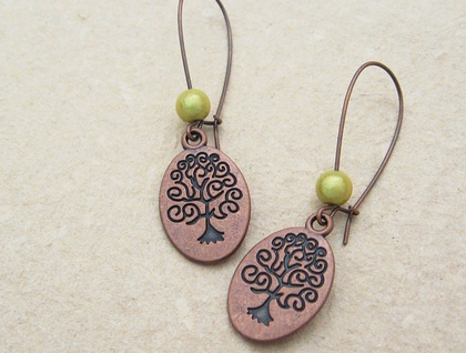 Copper Curly Tree earrings with peridot green miracle beads on long ear-wires – last pair!