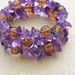Amethyst and copper-coloured crackle-glass memory wire wrap bracelet – last one!