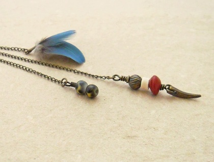 Goldfish Collection Earring #1: eclectic statement earring with vintage fish and blue, cruelty-free macaw feathers