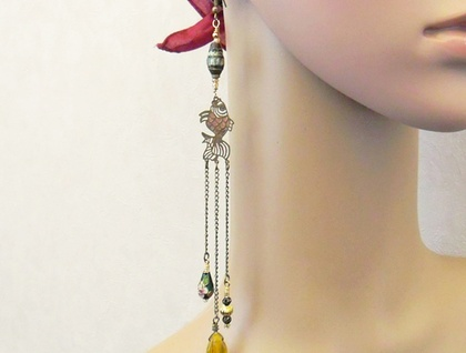 Goldfish Collection Earring #2: eclectic statement earring with vintage fish, green cloisonné, and yellow glass