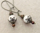 Shaggy Root earrings: creamy howlite beads with brown glass pearls and leafy bronze caps