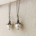 Bursting Bud earrings in cream: floral earrings featuring Swarovski pearls on long ear-wires