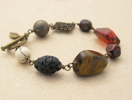 Hot Earth bracelet: wire-wrapped semiprecious stones, glass & metal – last one!