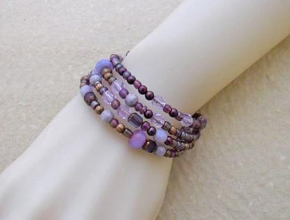 Purple Dusk bracelet: memory wire wrap bracelet in gleaming purple, mauve, and antiqued copper
